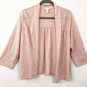 Chicos Cardigan Silk Blend Open Front Pink